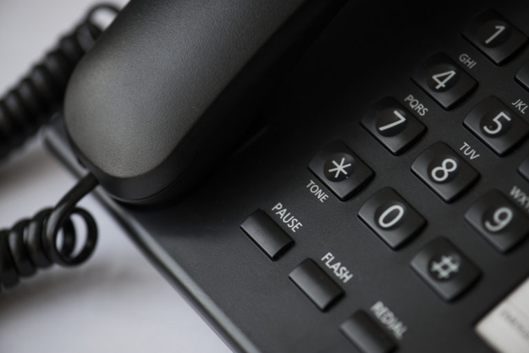 Closeup of office wired telephone